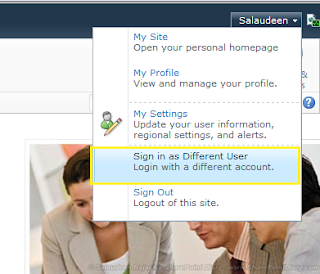 sharepoint 2013 sign in as a different user