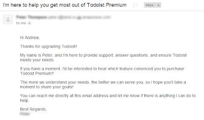 Customer engagement letter from Todoist