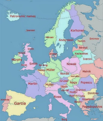 Apellidos más usados en Europa