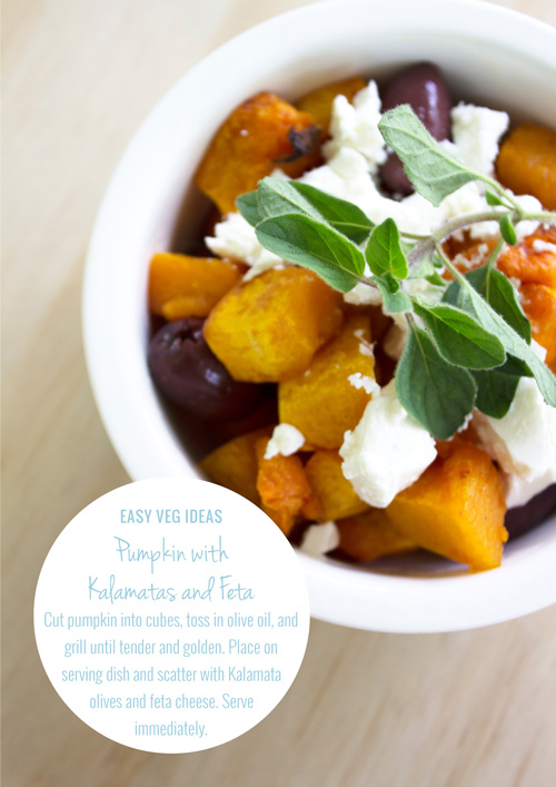 Easy Meal Ideas - Pumpkin with Kalamatas and Feta by Eliza Ellis