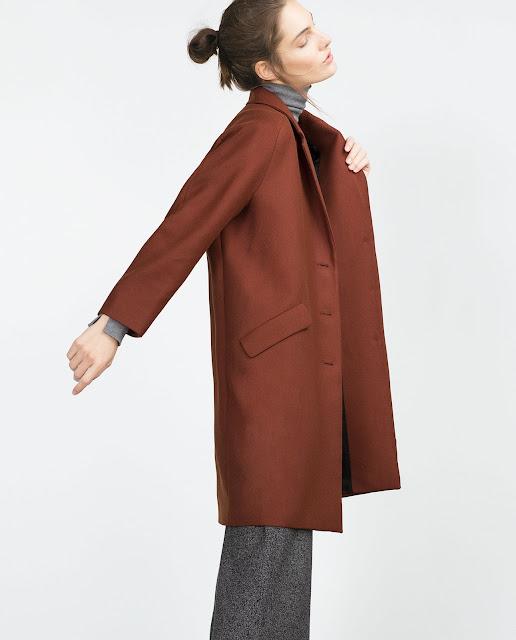russet coat, zara burnt coat, dark orange coat, zara brown coat,