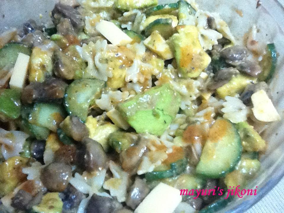 307. avocado mushroom pasta salad