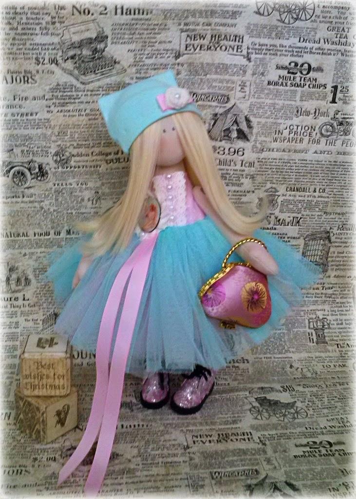 куколка в пачке, кукла ручной работы, авторская куколка, мятная балерина, розовый, бирюза, блондинка, куколка с волосами, кукла-балерина