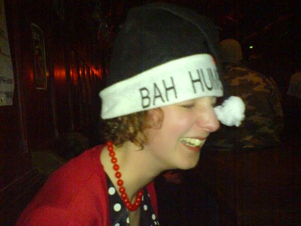 "Me in a nightclub in a ""Bah Humbug"" hat"