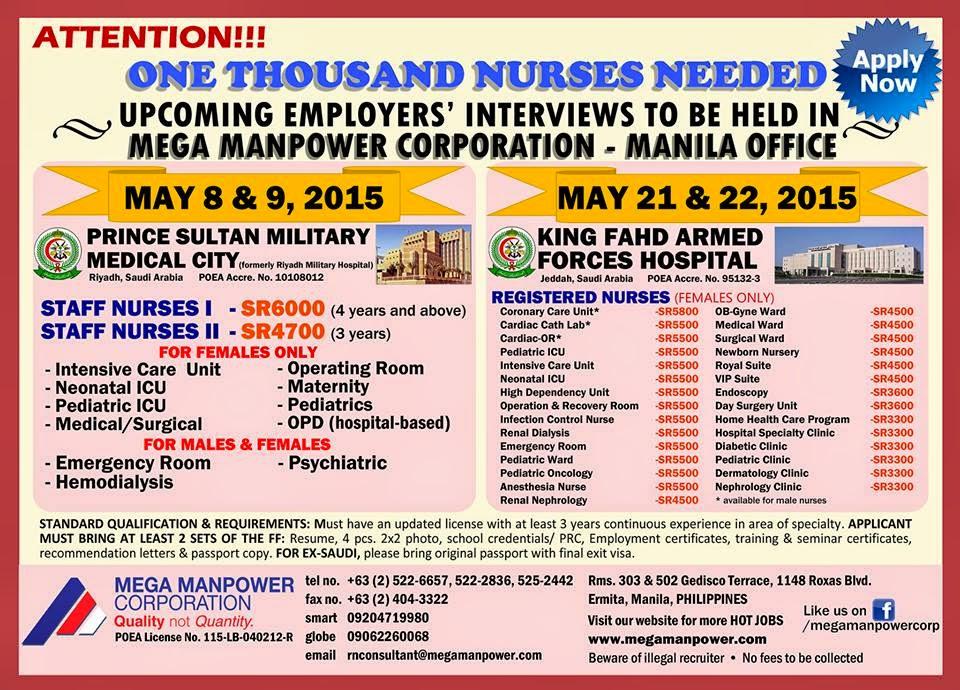 nurses job vacancy  staff nurses for saudi