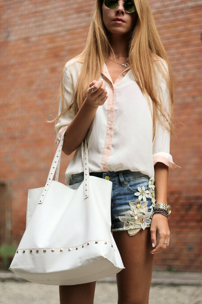 denim shorts, white Mango bag