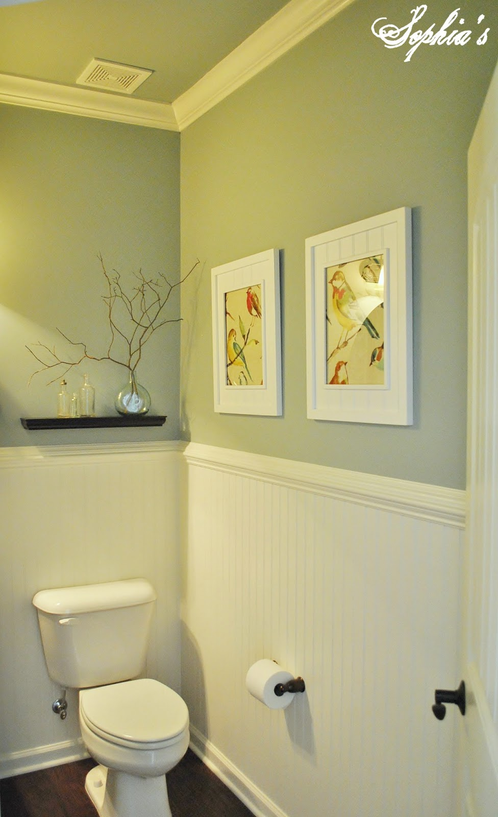 Sophia 39 s powder room makeover for Silver mist paint color