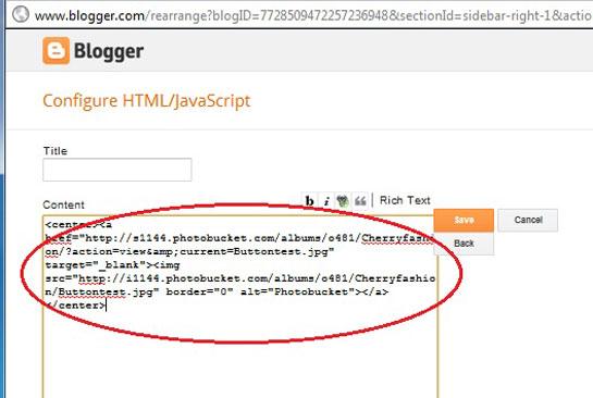 Paste the code from photobucket in html widget