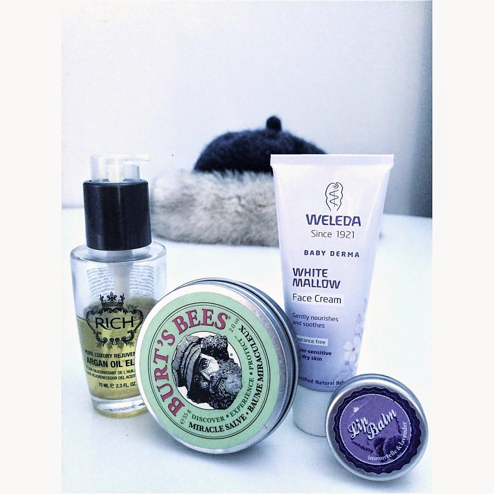 weleda, white mallow, rich argan oil, burts bees, miracle salve, eko, ekokosmetik, naturkosmetik