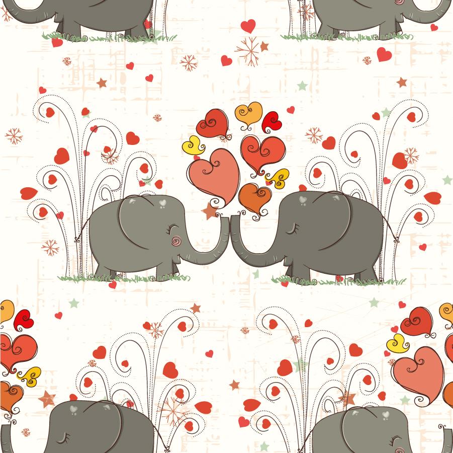 象とハートの背景 baby elephant hearts background イラスト素材