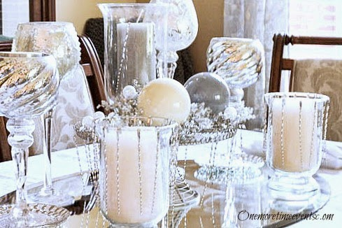Silver Christmas Tablescape at One More Time Events.com