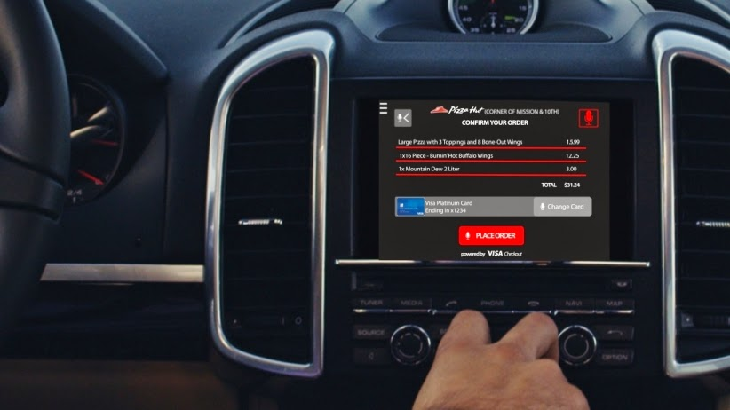 order pizza by car dashboard