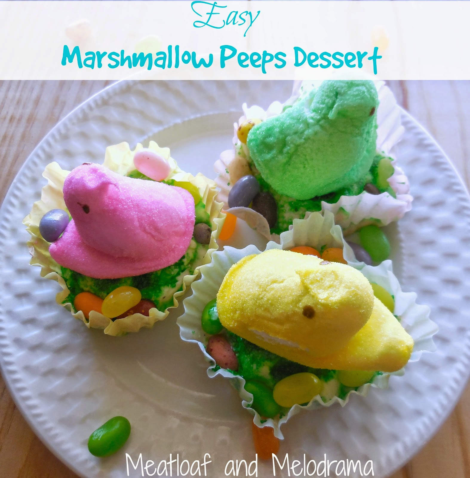 marshmallow peeps on ice cream cups with jelly beans