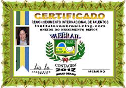CERTIFICADO DE RECONHECIMENTO INTERNACIONAL DO INSTITUTO VAEBRASIL