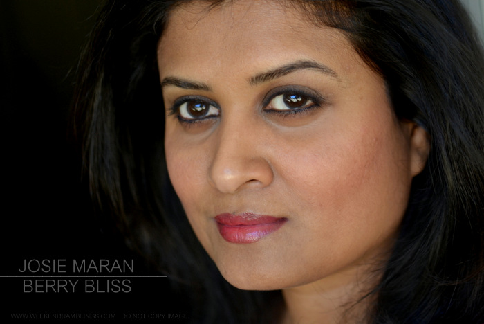 Josie Maran Argan Love Your Lips Hydrating Lipstick Fuchsia Frolic Berry Bliss Happy Honey Photos Swatches Review FOTD Indian Darker Skin Makeup Beauty Blog