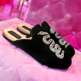 Charming Gucci® Velvet Evening slipper with snake embellishment.