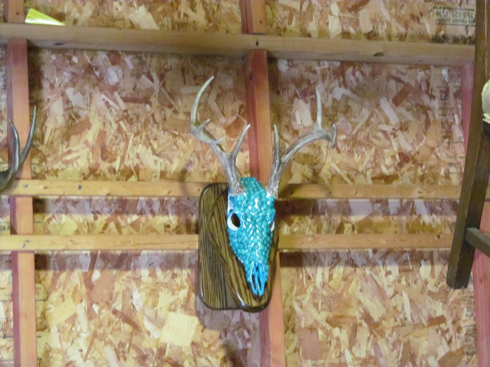 blue stone-studded steer skull with horns