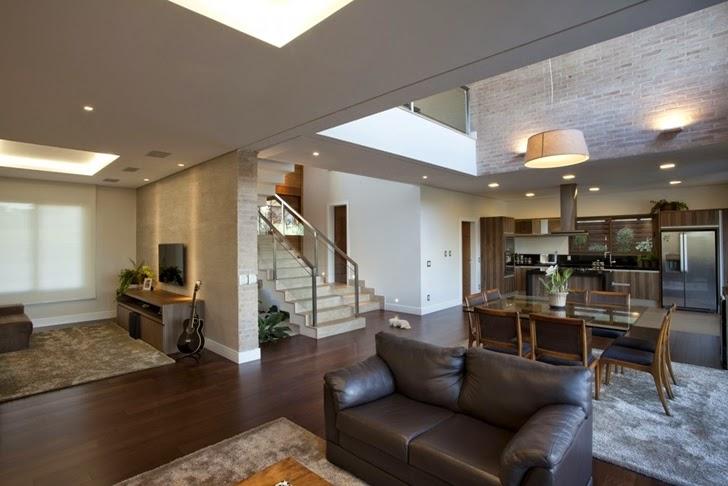 decoracao de interiores de casas modernas : decoracao de interiores de casas modernas: paredes de tijolos claros conferiram mais charme ao interior da casa