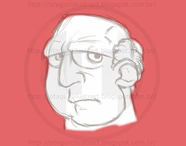 Esboço de um homem velho com cor de fundo vermelho