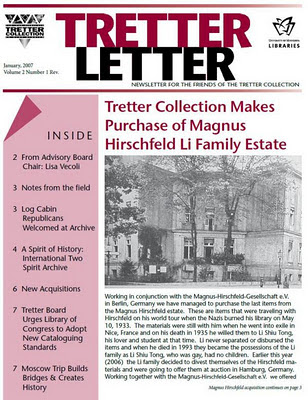 Headline 'Tretter Collection makes purchase of Magnus Hirschfeld Li family estate' Jan. 2007 p. 1 cover