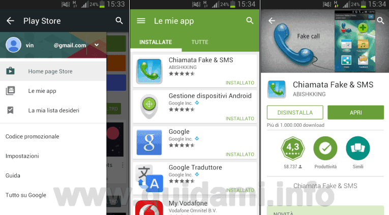 Disinstallare le app Android da Google Play