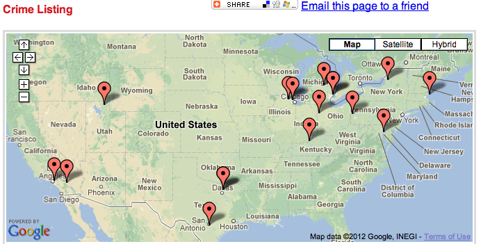 SpotCrime The Publics Crime Map December - Threats to us on a map