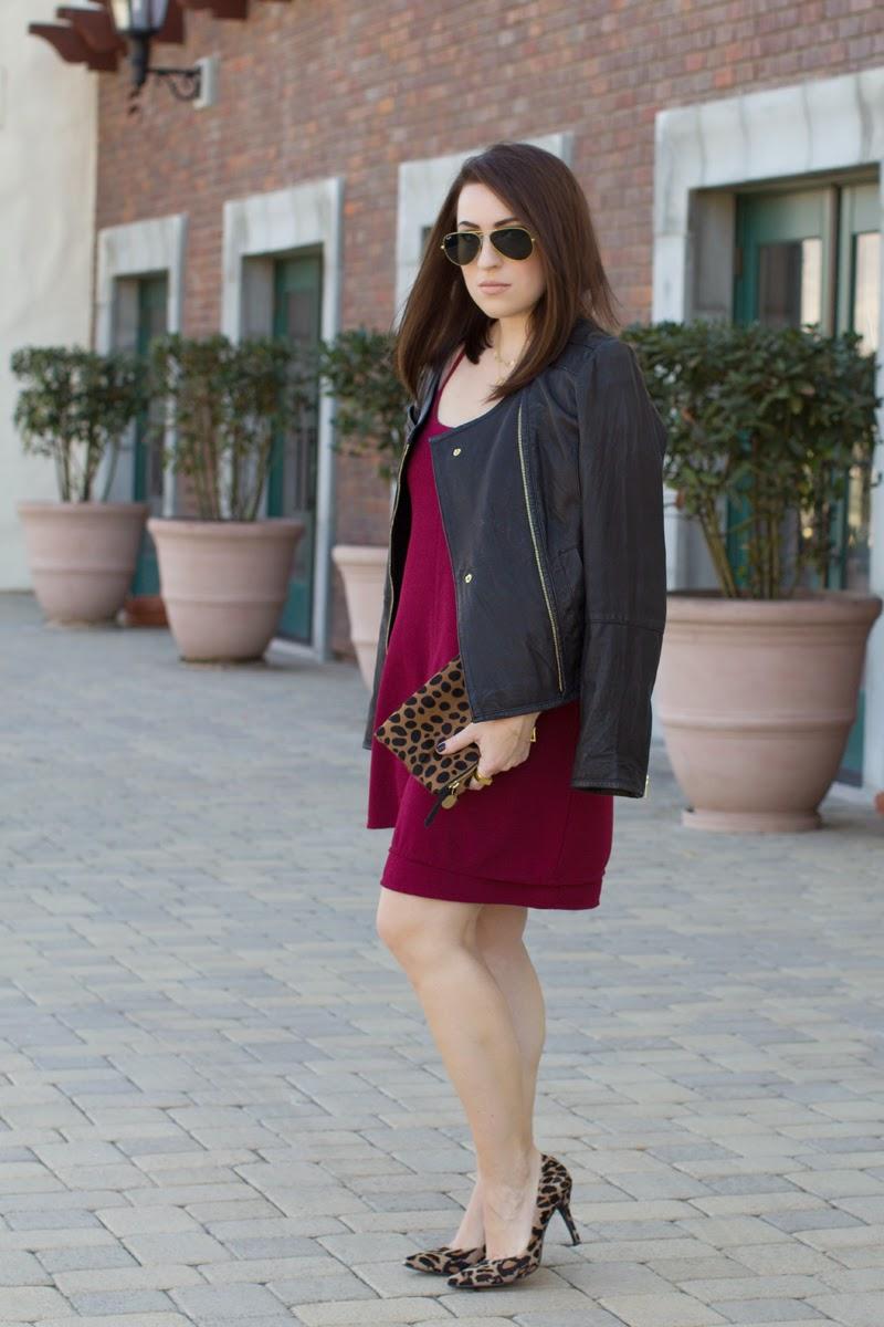 burgundy shift dress, leopard heels, leather jacket