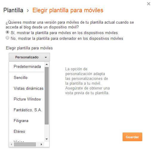 Opciones de configuración de la plantilla para móviles de Blogger