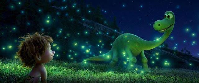 Arlo y Spot en uno de los momentos más mágicos de la película