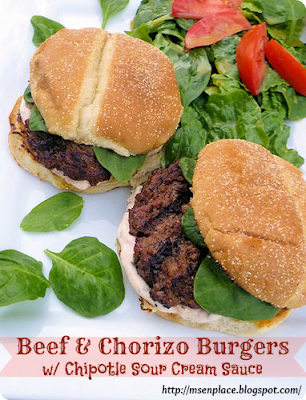 Beef & Chorizo Burgers w/ Chipotle Sour Cream Sauce | Ms. enPlace