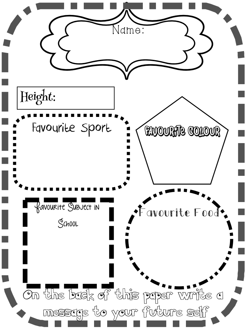 New Career New School New Country First Day of School Time Capsule – Time Capsule Worksheet