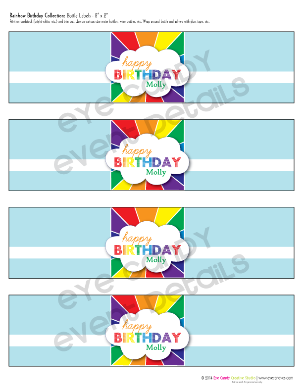 rainbow party, rainbow birthday party water bottle labels, happy birthday