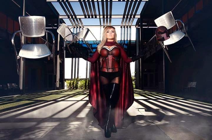 Jessica Nigri cosplay Magneto and photoshop