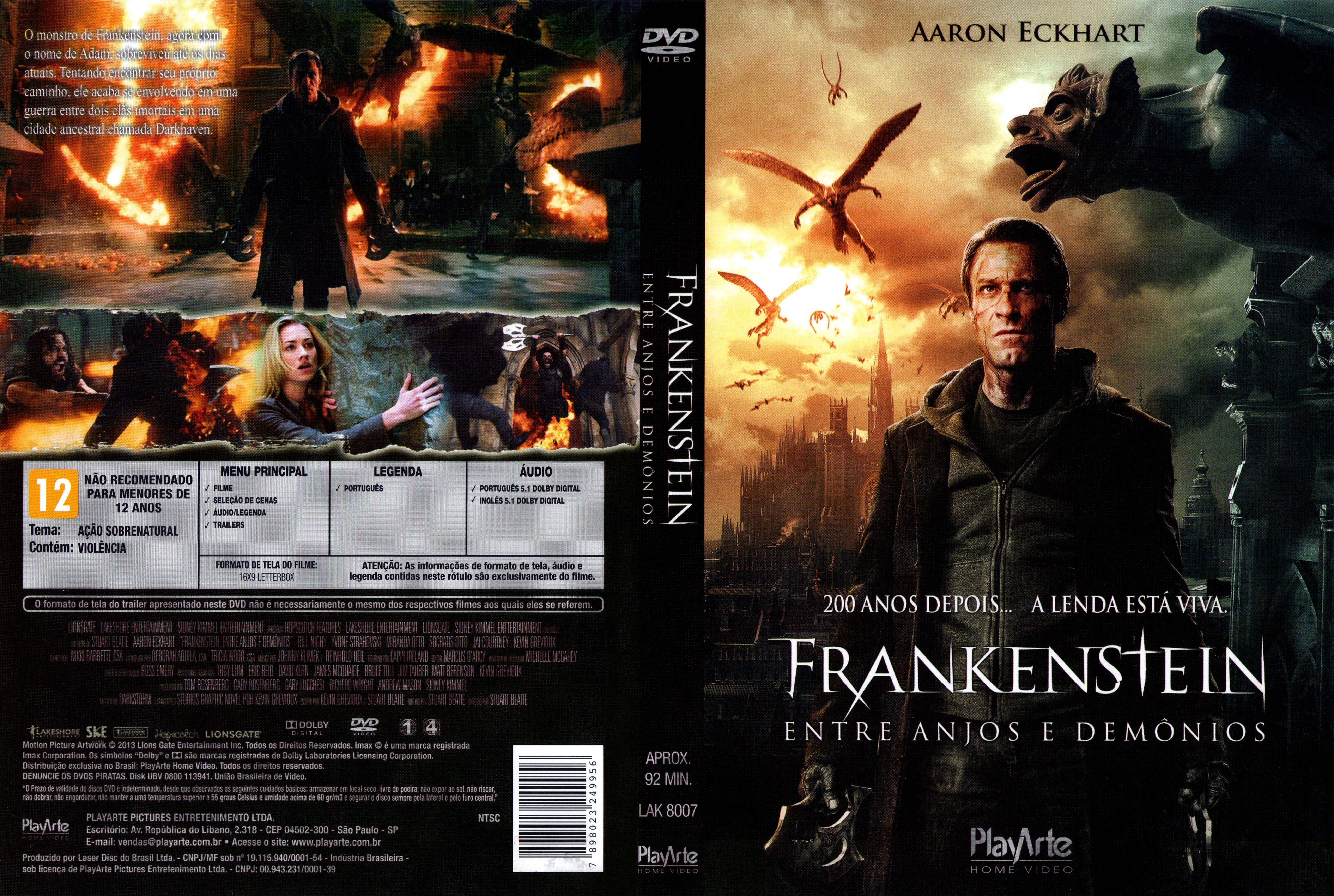 Capa DVD Frankenstein Entre Anjos E Demônios