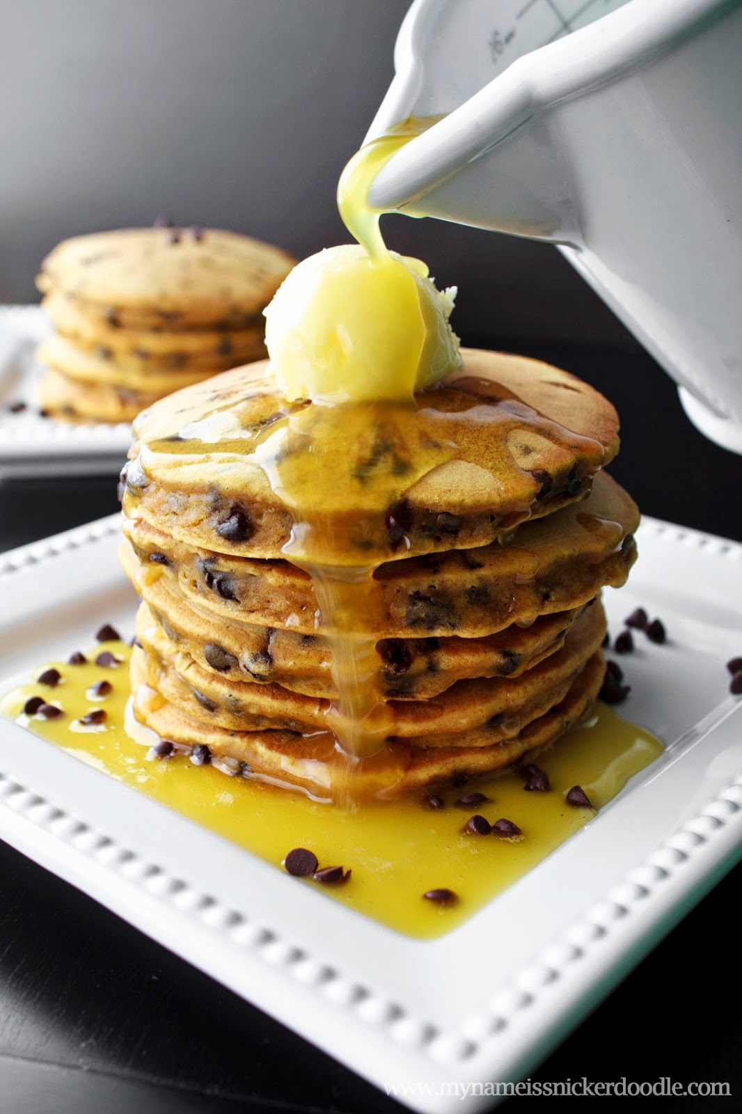 Pumpkin Chocolate Chip Pancakes with an Orange Buttermilk Sauce | My Name Is Snickerdoodle