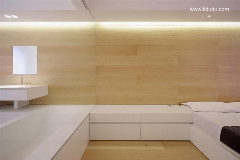 Baño y dormitorio con diseño minimalista
