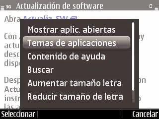 Menú de opciones dentro de un tema de ayuda en un celular Nokia con S60 3ª Edición. Está resaltada la opción «Temas de aplicaciones» y, entre otras, está «Contenido de ayuda»