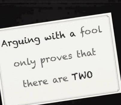 Arguing with a fool only proves that there are two.