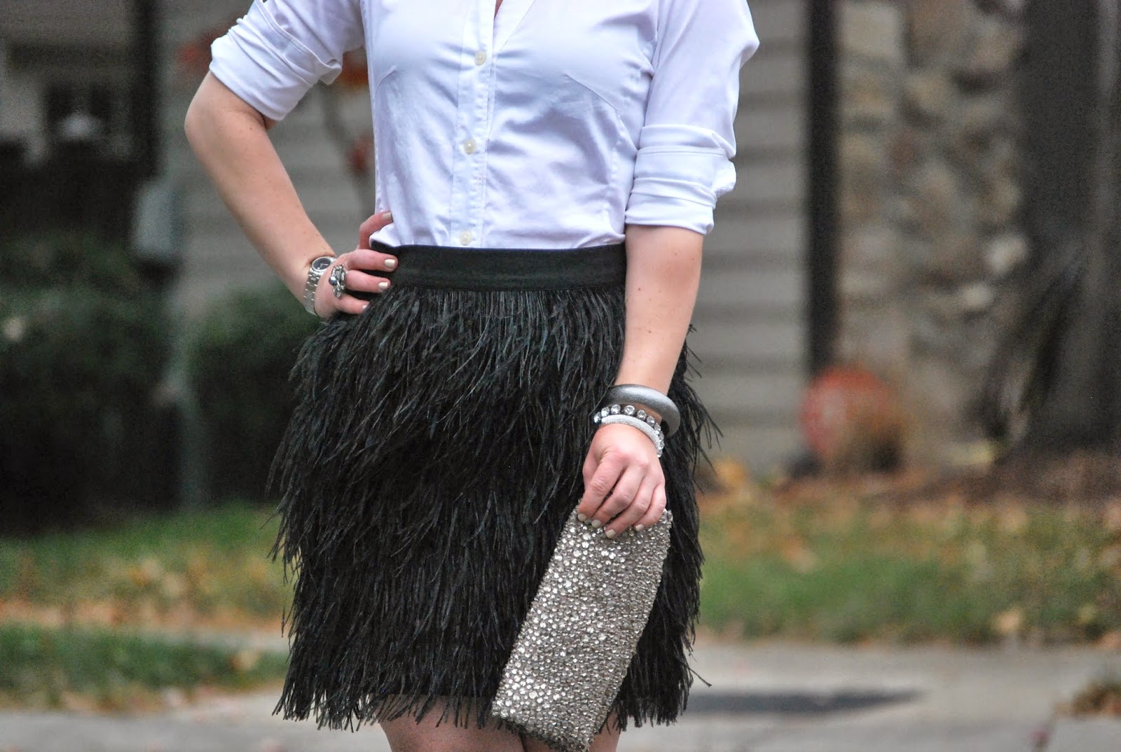 feather skirt, manolo blahnik, something blue, Holiday Look