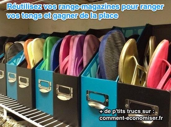 Organize flip flops with magazine file :: OrganizingMadeFun.com