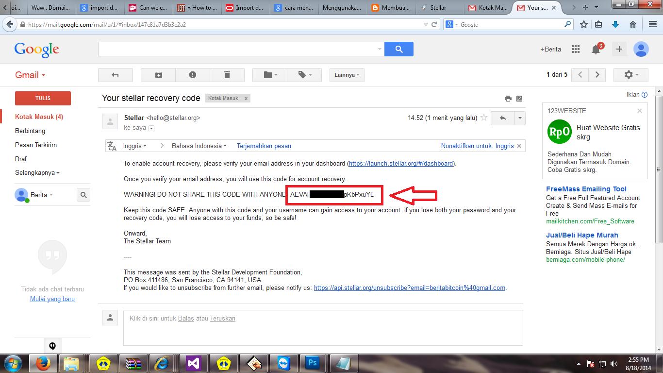 mengambil Recovery Code yang masuk ke email