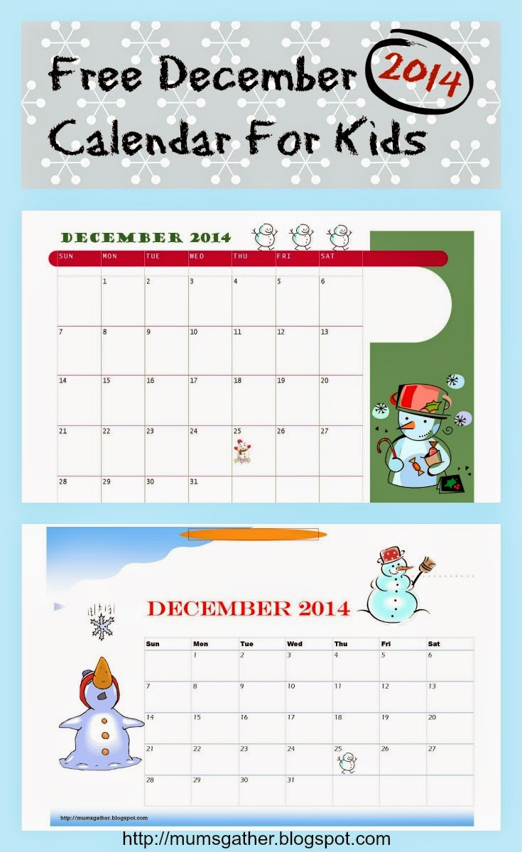 December Kids Calendar : Free printable december calendar for kids snowman