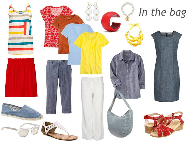 warm weather travel capsule wardrobe in denim and brights