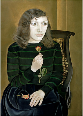 artist, portrait artist,Lucian Freud's, Girl with roses,great art, oil paintings