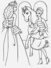 Gambar mewarnai barbie dan kuda kesayangannya