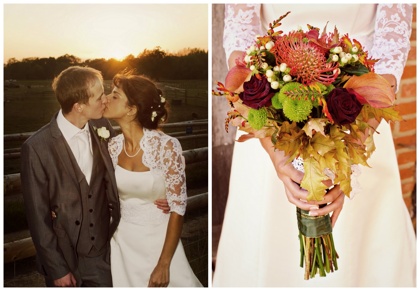 Couple kissing and a Bridal bouquet