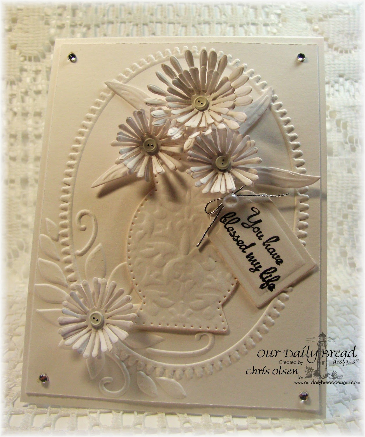 Our Daily Bread Designs-Aster Dies, Decorative Vase Die, Recipe and Tags Die, Rose stamp set, Chris Olsen