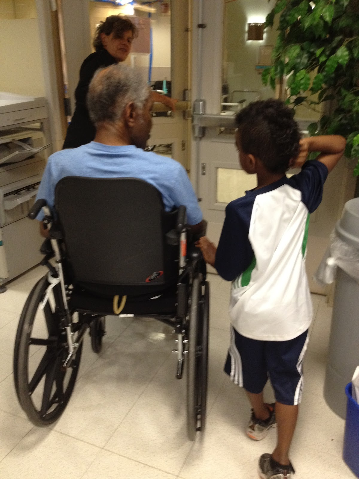 Grandpa His Little Prayer Warrior Sidekick AJ Checking Out Grandpas Rehab Facility