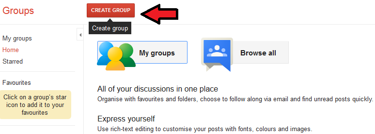 google groups create group