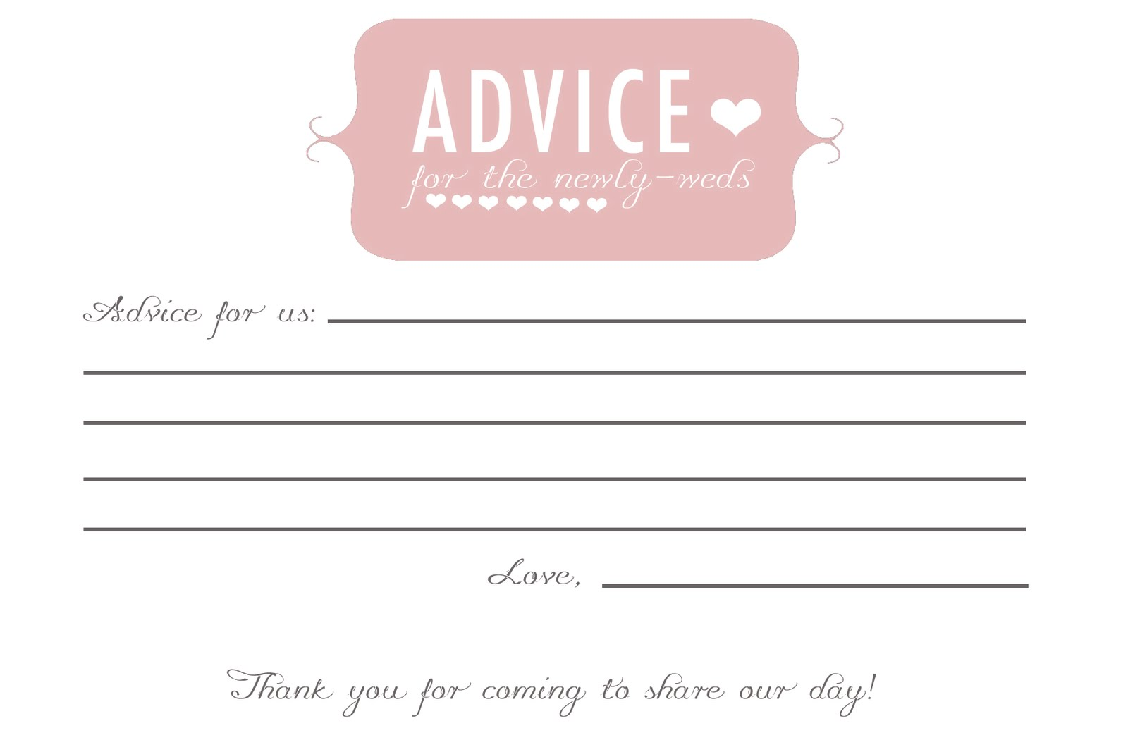 Did Anyone Do Advice Cards Or Prediction Cards For Guests